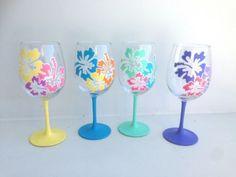 Hibiscus-Wine-Glass-Set-Hawaiian-Flower-Wine-Glass-Set-of-4-Hand-Painted-Glass