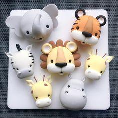 Fondant Cake Toppers, Fondant Baby, Fondant Cupcakes, Fondant Figures, Fondant Rose, Fondant Flowers, Cupcake Toppers, Zoo Cake, Jungle Cake