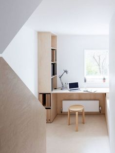 exposed plywood and white walls in home office. / sfgirlbybay