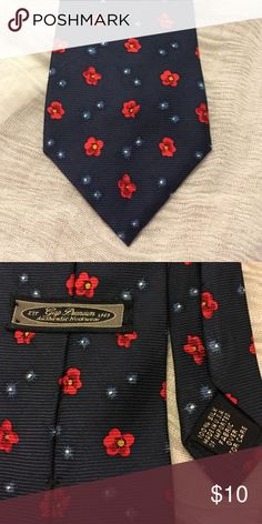"""Vintage GAP Necktie 100% Silk Made in the USA  Necktie to share with your mate, Ladies & Gents! Navy Blue with Yellow centered Red flowers  Dare to shake things up """"Wear-Ever"""" you go. In excellent condition  GAP Accessories"""