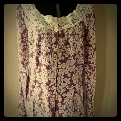 Purple and cream top Long sleeve, lace collar, button down front, purple and cream in color Charlotte Russe Tops