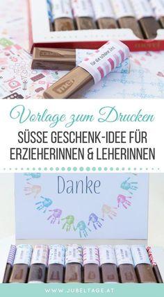 """Druckvorlage: Zum Abschied oder Schulende ein süßes Geschenk aus Merci-Schokolade basteln. Mit vielen Ideen um """"Danke"""" zu sagen."""