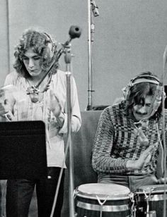 Robert Plant and John Bonham during the recording of 'Whole Lotta Love' at A&M Studios in Los Angeles, May 1969.