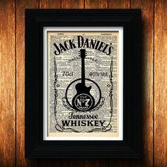 Jack Daniels Guitar Bar Decor - Rock and Roll - Bar Sign - Tennessee Dorm Room Decor - Party Guitar Art - Jack Daniels Liquor Bottle Rocker on Etsy, $10.00