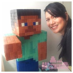Epic Minecraft cake of Steve. Large Minecraft Steve cake with creator. #minecraftcake