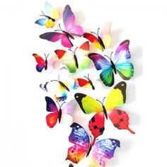 12 Pcs/Lot PVC DIY Butterfly Wall Stickers Home Decor Poster for Kitchen Bathroom Fridge Adhesive to Wall Decals Decoration 3d Butterfly Wall Decor, Butterfly Artwork, Butterfly Wedding, Cute Butterfly, 3d Butterfly Wall Stickers, Butterfly Decorations, Wall Stickers Home Decor, Butterfly Design, Paper Butterflies