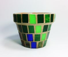 Stained Glass Mosaic 4 Terracotta Planter Flower by JBsGlassHouse