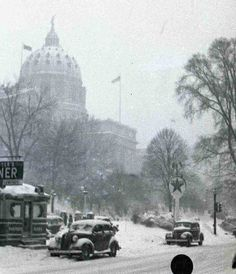Kawkawpa Flickr -- Harrisburg PA Capitol in the Snow, early 1940s  This is a view from Third Street. The diner and Texaco station are long gone.