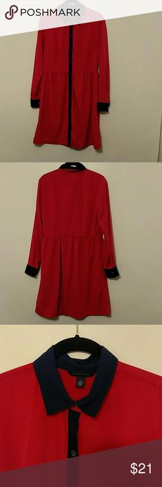 Tommy Hilfiger Long Sleeve Dress Cute for fall🍁🍂  Gently worn long sleeve red dress with navy blue accents. It has belt loops but does not come with the belt. Dress is fully lined in the torso. Tommy Hilfiger Dresses Long Sleeve