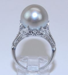 Antique 14K White Gold Filigree Diamond & Gray South Sea Pearl Engagement Ring