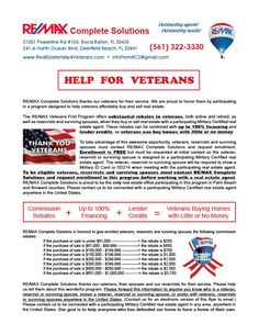COMMISSION REBATES to VETERANS, both active and retired, surviving spouses and RESERVISTS. More at RealEstateHelp4Veterans.com. Please help us spread the word! We can help veterans ANYWHERE in the US find a participating realtor! We want to help EVERYONE who has defended our home have a home of their own! Call (561) 322-3330 or email infofromrcs@gmail.com to enroll in this FREE program today! Mention this program when you call so we assign you to a Certified Program Participant. Thank you!