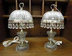 antique crystal | SOLD! PAIR OF SMALL VINTAGE GLASS/CRYSTAL TABLE LAMPS - For Sale