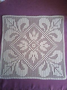 Large White Square Vintage Filet Crochet Lace Doily or Small Table Runner. - Her Crochet Crochet Butterfly Pattern, Crochet Doily Diagram, Crochet Squares, Crochet Motif, Crochet Designs, Crochet Stitches, Crochet Bedspread, Crochet Cushions, Crochet Tablecloth