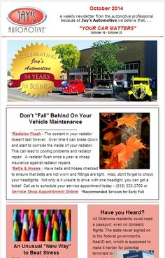 #JaysAutomotive's #YourCarMatters #Weekly #Newsletter is ready to read. #Didyouknow that you can relieve stress by coloring? For all of us #pumpkin lovers, 53 ways to enjoy this amazing fruit besides just at #Thanksgiving. Also, have you ever wondered what successful people do on their #weekends? It's time for us to reevaluate what we don't do that we should do! #carcare  #bartlesville #oklahoma  #successful  #color