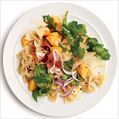 Prosciutto and Melon Pasta Salad   CookingLight: This is my go-to summer get-together dish (unless I breakout Gramma's macaroni salad. Hello, mayo)