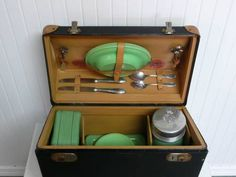 ARE Antique Picnic Suitcase with Jadite Green Dishes, Thermos and Sandwich Food Tins, Original Thermos Brand - Vintage Travel Trailer Decor $145