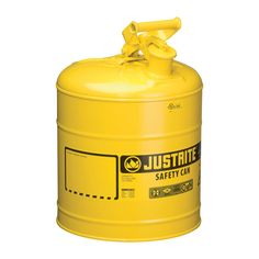 This Justrite Type I Safety Fuel Can is designed to reduce fire risks and make everyday use of flammables easier and safer. It includes a 3 1/2in.L stainless steel flame arrester that stops flashback ignition. The self-venting, self-closing leakproof lid prevents ruptures from pressure buildup and controls vapors and spills. Meets OSHA and NFPA. FM approved, UL/ULC listed, Carb compliant, TUV certified. U.S.A.
