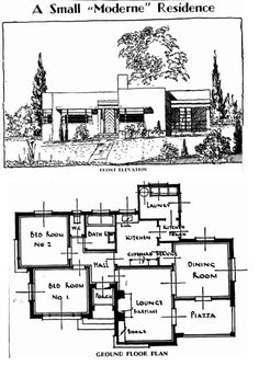 small modernist house with floor plan and f. small modernist house with floor plan and front elevation. Casa Art Deco, Art Deco Home, Small Floor Plans, Small House Plans, Vintage House Plans, Modern House Plans, Sims House Plans, House Floor Plans, The Sims