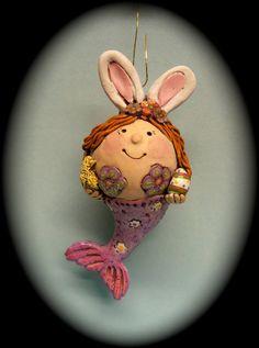 Bunny the Easter Mermaid by darbella designs in by darbelladesigns,  SOLD