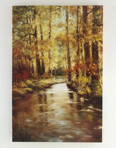 """Landscape gallery wrapped canvas wall art with hand texture. Gold, orange, brown, black, red, green & blue. Giclee reproduction. 48""""W x 72""""H. For more information email ashley@ashleyhomestoretx.com."""
