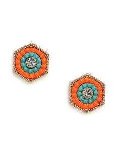 Orange Notre Studs Earrings