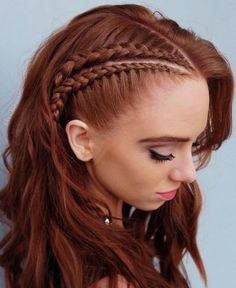 This lovely braided red hair color is new school