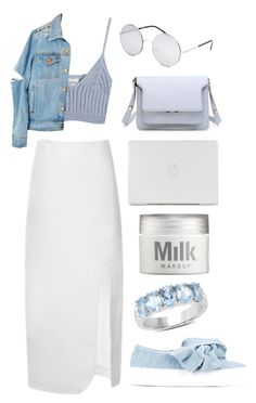 """""""Blue Pastel"""" by mode-222 ❤ liked on Polyvore featuring Jacquemus, Chicnova Fashion, Blue Crown, Joshua's and MILK MAKEUP"""
