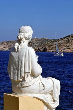 "HELLAS / GREECE Katapola Bay, Amorgos Island ""The mother-wife waiting for the sailor husband-son"""