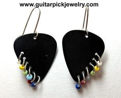 Guitar Pick Earrings Black with silver hoops and by TwistedPicks