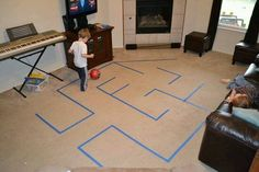 Make a maze using painter's tape! It will keep the kiddos active & entertained for hours. (via A Magical Childhood) gross motor Gross Motor Activities, Gross Motor Skills, Indoor Activities, Toddler Activities, Indoor Recess Games, Toddler Games, Therapy Activities, Physical Activities, Business For Kids