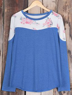 Floral top to get with free shipping&easy return! This blue splicing piece gonna be your fave for layering! Search it at Cupshe.com