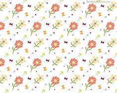 Cute Love Orange And Yellow Floral Pattern A White Wallpaper with