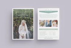 WANDERERS Wedding Flyer Price List A beautiful multipurpose flyer template AND price list for photographers! Clean, modern and fully customisable. Photography Brochure, Photography Packaging, Photography Services, Back Cover Design, Flyer Size, Indesign Magazine Templates, Flyer Design Inspiration, Envato Elements, Creative Brochure