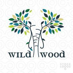 wild wood elephant logo by NancyCarterDesign
