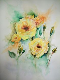Yellow roses in watercolor by Hannah Tiffin Watercolor Ideas, Floral Watercolor, Watercolor Paintings, Yellow Roses, Art, Art Background, Water Colors, Kunst, Flower Watercolor