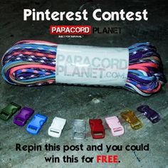 BRAND NEW Pinterest Contest:  Repin this post for your chance to win this FREE package including a combination of buckles and 550 cord colors!! Winner will be announced tomorrow :) Good luck, and check back to see if you won this awesome paracord package!