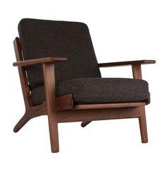 The Matt Blatt Replica Hans Wegner Plank Armchair - Oak/Walnut main image Walnut Tweed Grey $995