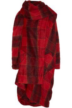 Vivienne Westwood Anglomania Gebürsteter, gewebter Drapier-Mantel mit Tartan-Muster   NET-A-PORTER
