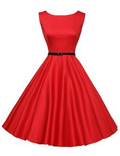 ff893001400 50 s Vintage Dresses for Women Ball Dresses Red Size M F-... https