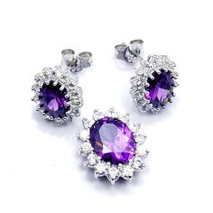 Sparkling Sterling Silver Purple CZ Earrings and Pendant Set -- Details can be found by clicking on the image. (This is an affiliate link and I receive a commission for the sales)