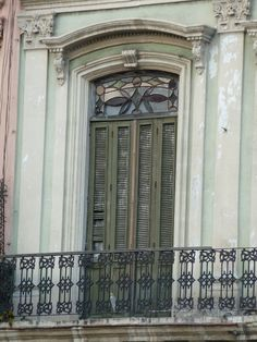 Abandoned Havana, Cuba - faded grandeur. Door, window, ornaments, beauty, curved, architechture, balcony, photograph, photo