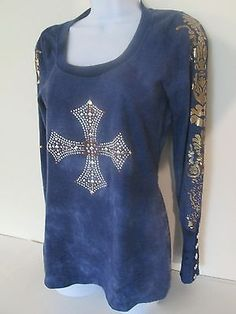 Free Society Blue Henley XS Blue Scoop Top Long Sleeve Studded Cross Cotton