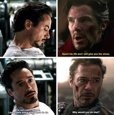 There was no other way. We're in the end game now. Memes Marvel, Marvel Quotes, Marvel Funny, Marvel Avengers, Marvel Comics, Robert Downey Jr, Iron Man Death, Ironman, Iron Man Tony Stark