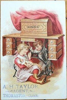 Victorian Trade Card: Little Girl w/Doll, Children Under Sewing Machine-Domestic