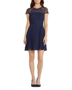 BCBGeneration Lace Detail Fit And Flare Dress   Bloomingdale's