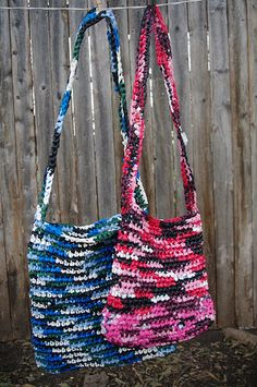 plarn plastic yarn from plastic bags crocheted into water carrier bags. My Mom makes some like these.