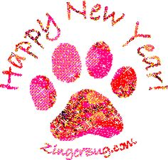 Happy New Year Color Shift Paw Print Glitter Graphic, Greeting, Comment, Meme or GIF