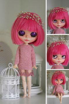 Pink Blythe doll Custom Blythe Doll Collection doll Blythe doll Handmade Doll OOAK doll OOAK Blythe doll Decoration doll