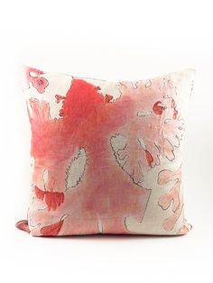 Natural linen down filled pillow - Printed on one side with an abstract seaweed image.