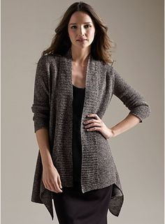 Shaped Cardigan in Multitonal Linen Mesh - looks even better from the back